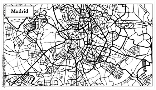 Canvas Print Madrid Spain Map in Black and White Color.