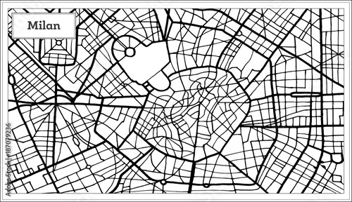 Canvas Print Milan Italy City Map in Black and White Color.