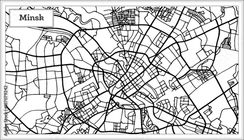 Photo Minsk Belarus City Map in Black and White Color.