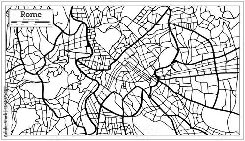 Obraz na plátně Rome Italy City Map in Black and White Color.