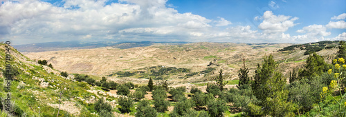 Leinwand Poster View of the promised land as seen from Mount Nebo in Jordan