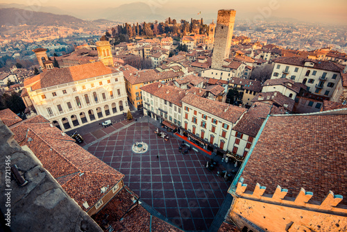 Canvas Print Bergamo Alta old town at sunset - Piazza Vecchia - Lombardy Italy