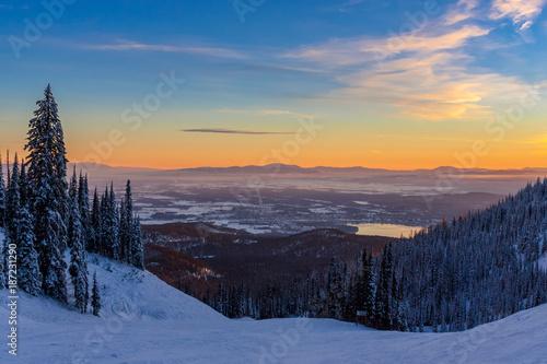 Stampa su Tela Whitefish Winter Sunset