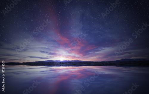 Fotografia, Obraz idyllic sunrise in the sky reflecting on calm water