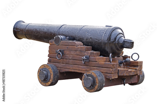 Fotografía Old medieval artillery canon on white