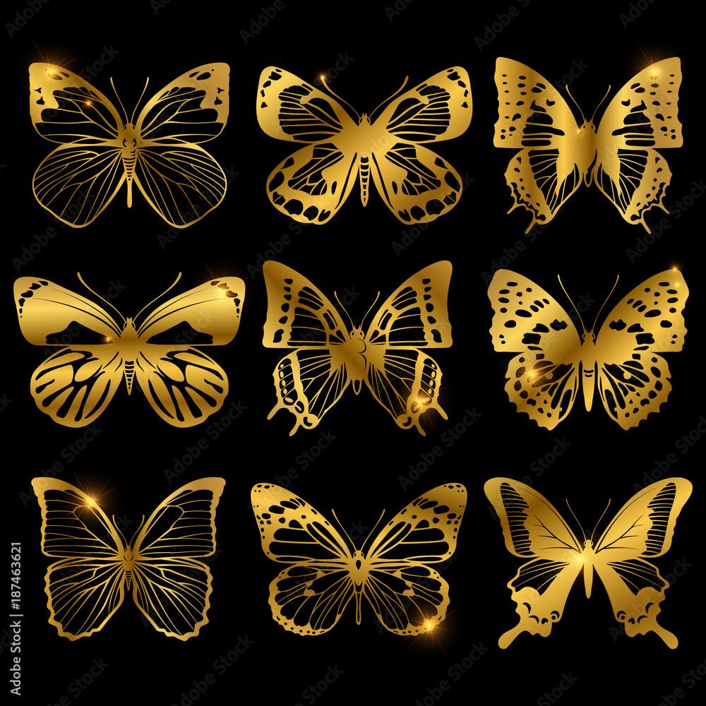Shiny golden butterflies with light effect <span>plik: #187463621 | autor: MicroOne</span>