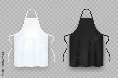 Photo Realistic white and black kitchen apron. Vector illustration.