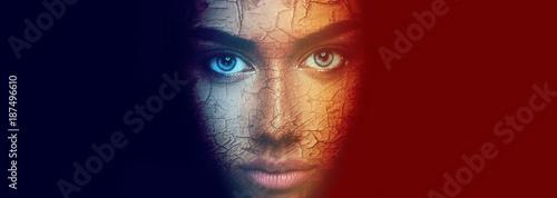 Obraz na płótnie Creative artistic dark portrait of mystery woman with beautiful face