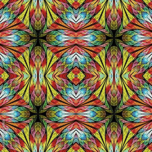 Wielokolorowy Wzór Kwiatowy W Stylu Okna Z Barwionego Szkła. Możesz Używać Go Na Zaproszenia, Obudowy Na Notebooki, Etui Na Telefony, Pocztówki, Karty, Tapety I Także. Grafika Do Kreatywnego Projektu.