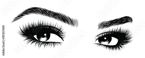 Slika na platnu Hand-drawn woman's sexy makeup look with perfectly perfectly shaped eyebrows and extra full lashes