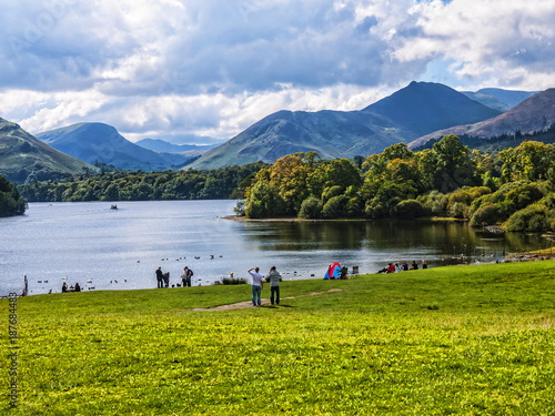 Leinwand Poster Enjoy a lake cruise on one of the Keswick Launches and experience the beauty of Derwentwater with breathtaking views of the surrounding fells