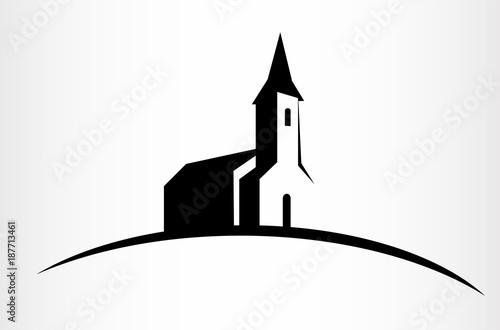 Valokuva Kościół na wzgórzu czarna ikona