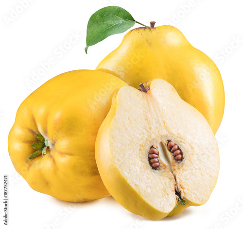 Three apple-quinces with leaf. File contains clipping path.