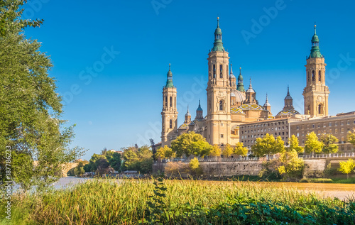View of the cathedral of the Savior (Catedral del Salvador) from the banks of the Ebro river, Zaragoza, Aragon, Spain.