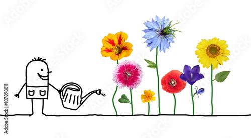 Kreskówka ogrodnik podlewanie kwiatów