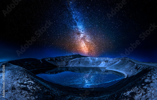 Canvas Print Lake in the volcano crater at night with stars, Iceland