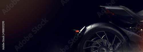 Black motorcycle in the studio.