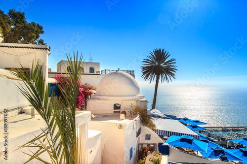 Obraz na plátně The famous cafe in Sidi Bou Said.