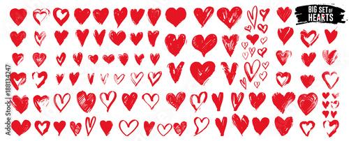 Fotografie, Tablou Big set of red grunge hearts