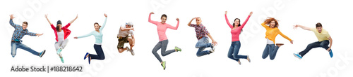 Slika na platnu group of people or teenagers jumping