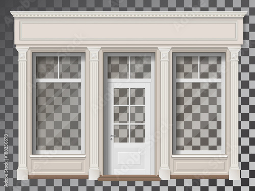 Photo Traditional small shop facade with large window and columns