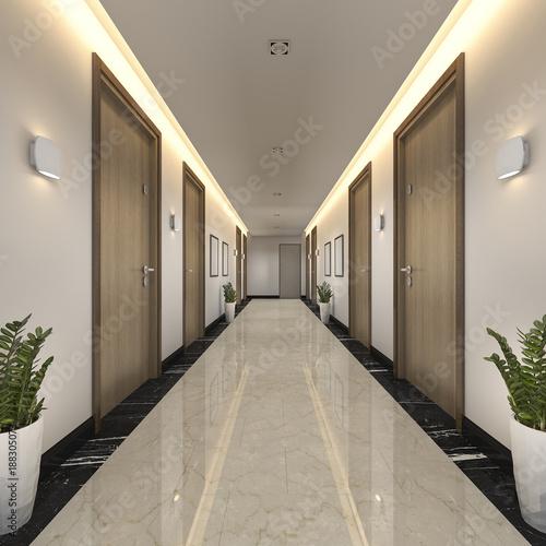 Photo 3d rendering modern luxury wood and tile hotel corridor