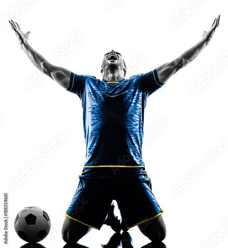 Obraz na płótnie one caucasian soccer player man happy celebration  in silhouette isolated on whi