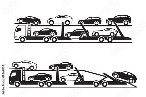Fotografie, Obraz Car transporter trucks - vector illustration