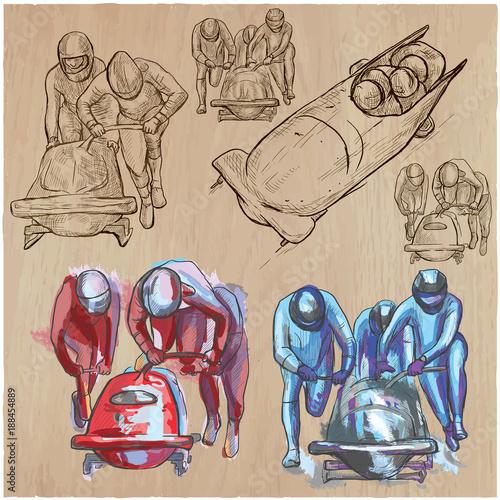 Winter Sport - BOBSLEIGH. An hand drawn vector pack. Fototapete
