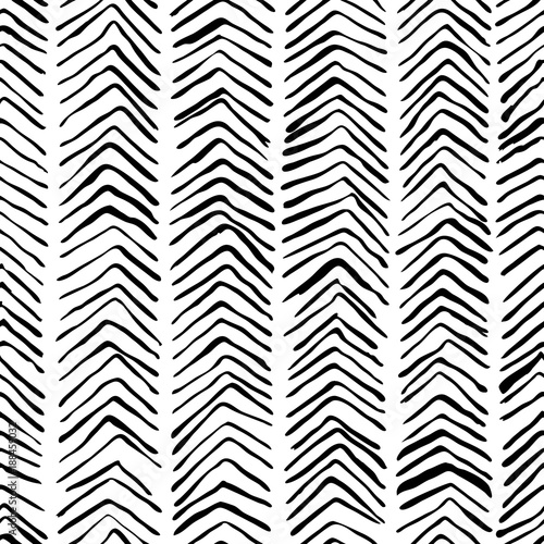 Vector black white hand drawn herringbone seamless pattern. Abstract strokes texture background, watercolor, ink and marker hatches. Trendy scandinavian design concept for fashion textile print.
