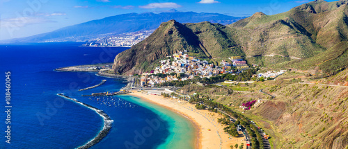 Beaches of Tenerife- Las Teresitas with scenic San Andres village. Canary islands of Spain