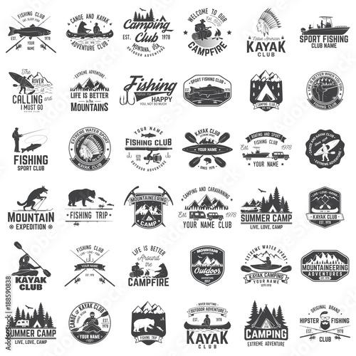 Fotografija Set of canoe, kayak, fishing and camping club badge.