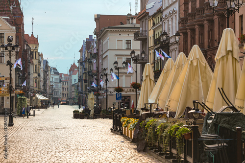 view of the street old Polish town of Torun