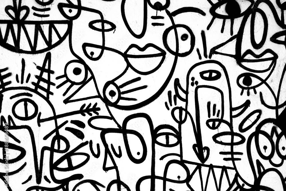 black-and-white pattern graffiti on the wall.Spain,Jerez,January 2018.Interesting background