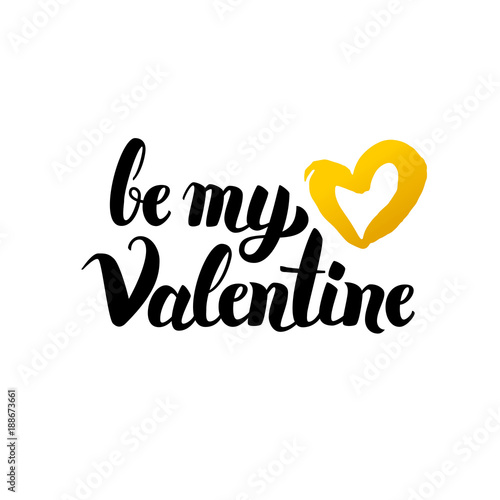 Canvas Print Be My Valentine Handwritten Lettering