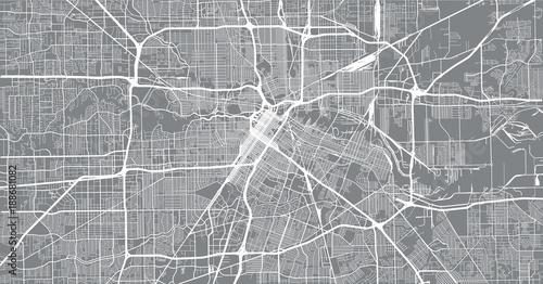 Fototapeta Urban vector city map of Houston, Texas, USA