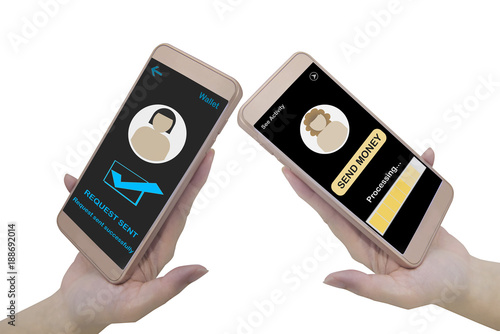 Hand holding smart phone with blank screen on white background, Financial technology concept and peer to peer transfer money idea