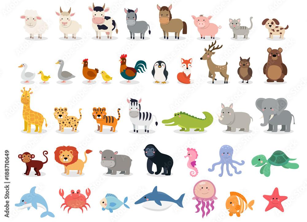 Cute animals collection: farm animals, wild animals, marina animals isolated on white background. Illustration design template