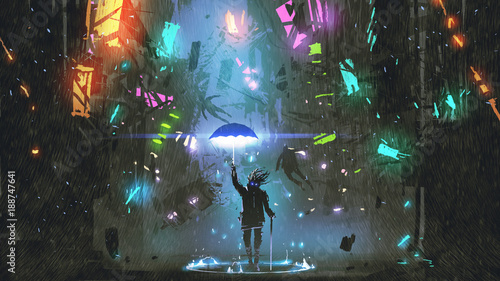 Fotografia sci-fi scene showing the man holding a magic umbrella destroying futuristic city