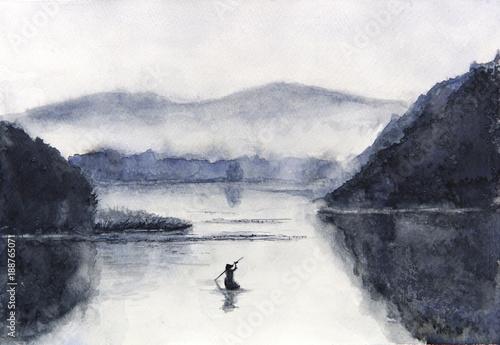 Akwarela łódź rybacka i wyspa z górami. Tradycyjny orientalny. styl azjatycki