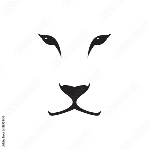 Carta da parati Vector image of a lioness head on white background. Wild cat.