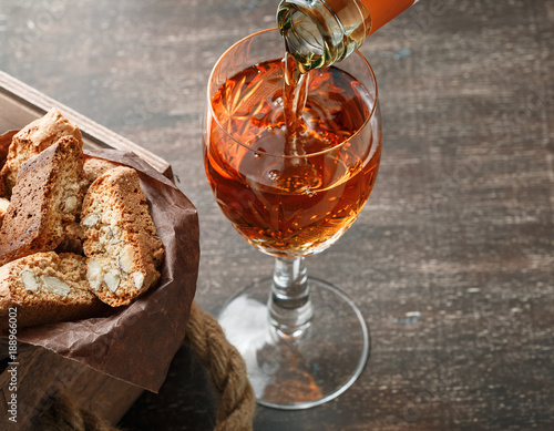 Italian cantucci biscuits and a glass of wine