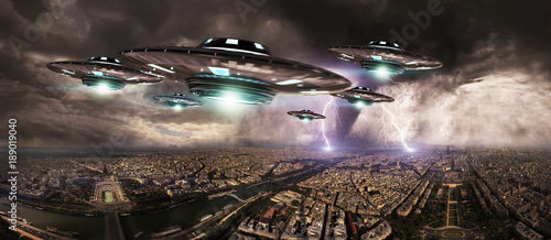 Canvas Print UFO invasionover planet earth city 3D rendering