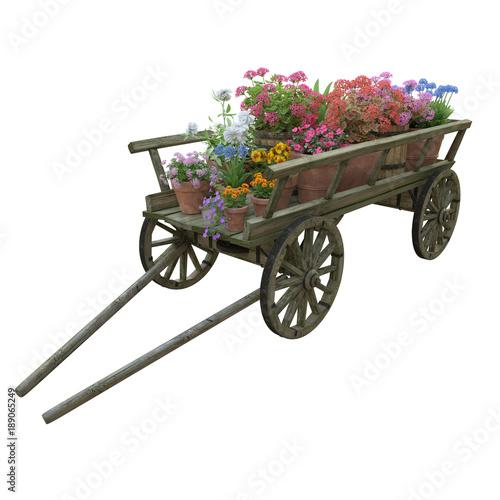 Wooden cart flower pot Fototapete