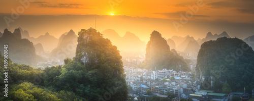 Obraz na plátně Li River and Karst mountains Guilin, Yangshuo