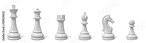 Fotografiet 3d rendering of all six different chess pieces of black color standing in line