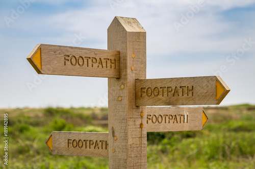 Canvas Print All roads lead to Rome - Sign: Footpath, pointing in all directions, seen in Tid