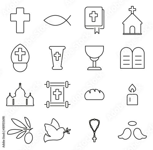 Foto Christianity Religion & Religious Items Icons Thin Line Vector Illustration Set