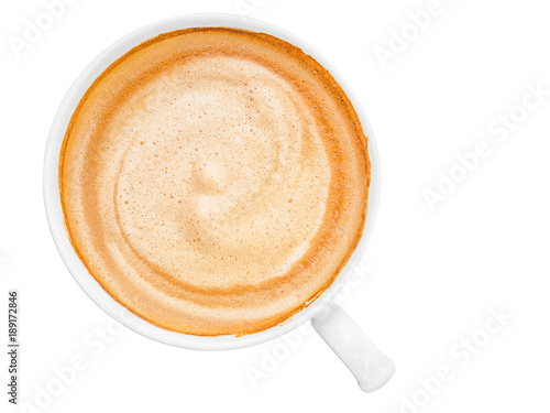 Foto hot coffee cappuccino or latte coffee top view isolated on white background with