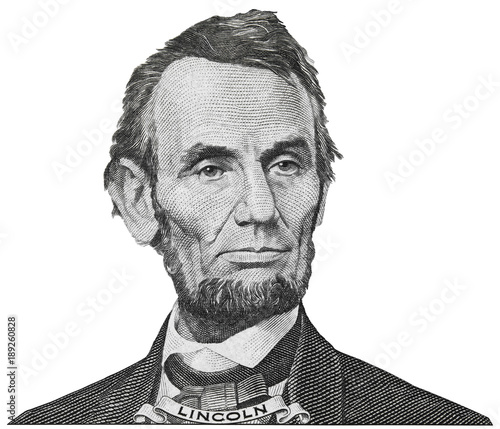 Photo President Abraham Abe Lincoln face portrait on 5 dollar bill isolated, five usd,